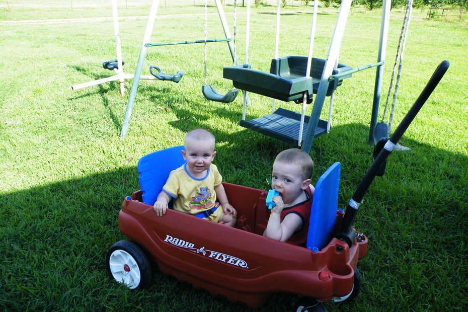 Matt and Zach in the wagon