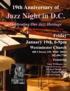 19th Anniversary of JAZZ NIGHT in D.C. @ Westminster Church FRIDAY, January 19, 2018 6-9pm, $5