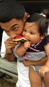 Niece and I...sharing watermelon :)