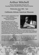 Arthur Mitchell, Founding Artistic Director of Dance Theatre of Harlem at CAAM Wed., June 30 at 7pm