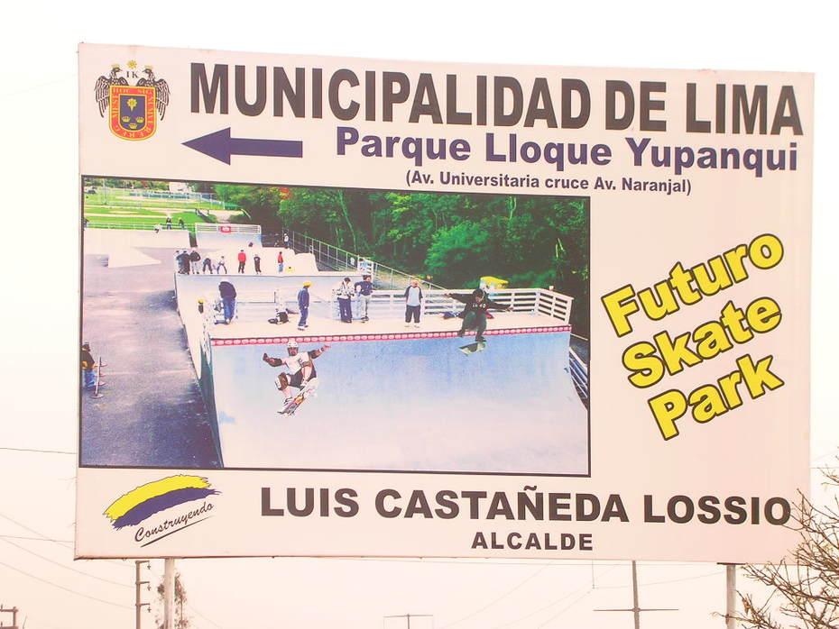 EL ALCALDE CASTAÑEDA LOSSIO NO TIENE NI IDEA QUE EL SKATEPARK NO QUEDO BIEN. SKATEPARK LOS OLIVOS - PARQUE ZONAL LLOQUE YUPANQUI
