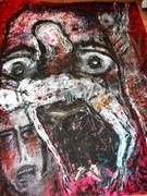Voices of the prisoners,victims of torture Acryl auf Tuch 150 x 150 cm Jahr 2010 Despina Papadopoulou