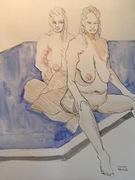 Zwei weibliche Akte auf dem Bett