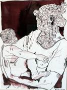 Mutter und Kind, 32 x 22 cm, Tusche auf Aquarellkarton (c) Zeichnung von Susanne Haun