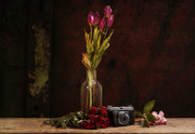 Stillleben Tulpen, Rosen, Kirsche