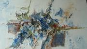collage in blau