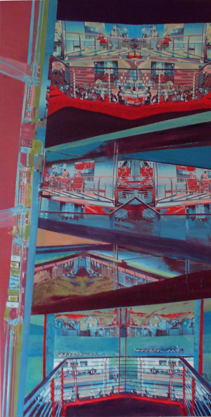 plane Fläche..1, Acryl Collage auf Leinwand, 50 x 110cm, 2016, Christoph Klein
