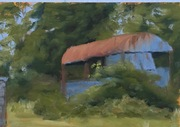 """Old Cavan Shed   10x8"""" oil on mounting board prepared with acrylic by Dee. Thank you Dee. Yes lovely to work on."""