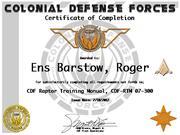Ens Roger Barstow RTM Cert