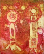 Red collagraph print