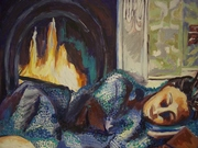 Woman Sleeping by a Hearth-Art and Open House at Democratic HQ