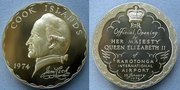 Cook Islands Madellion Coin commemorating the Opening of Rarotonga International Airport by H. M. Queen Elizebth II 1974.