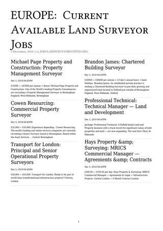 Europe Surveying Jobs