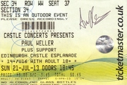 Paul Weller ticket signed by Andy Lewis