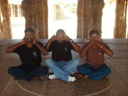 Mortal imitation of 3 monkeys of Gandhiji