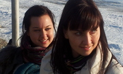 Liv and Sveta look at Lake Baikal