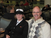Katie and dad at Midway Airport