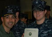 Katie getting Good Conduct Award from CO Aug 2012