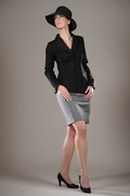 French Cuff Blouse & Curvy Skirt