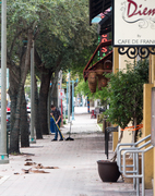Sweeping in Delray Beach up after Hurricane Mattew