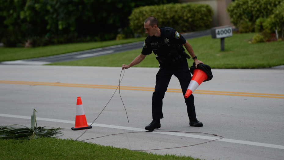 marking a down cable line in South Palm Beach