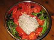 Raw, Soaked & Blended, SUNFLOWER Seed Sauce on Salad