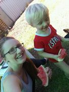 Eating watermelon with my boy