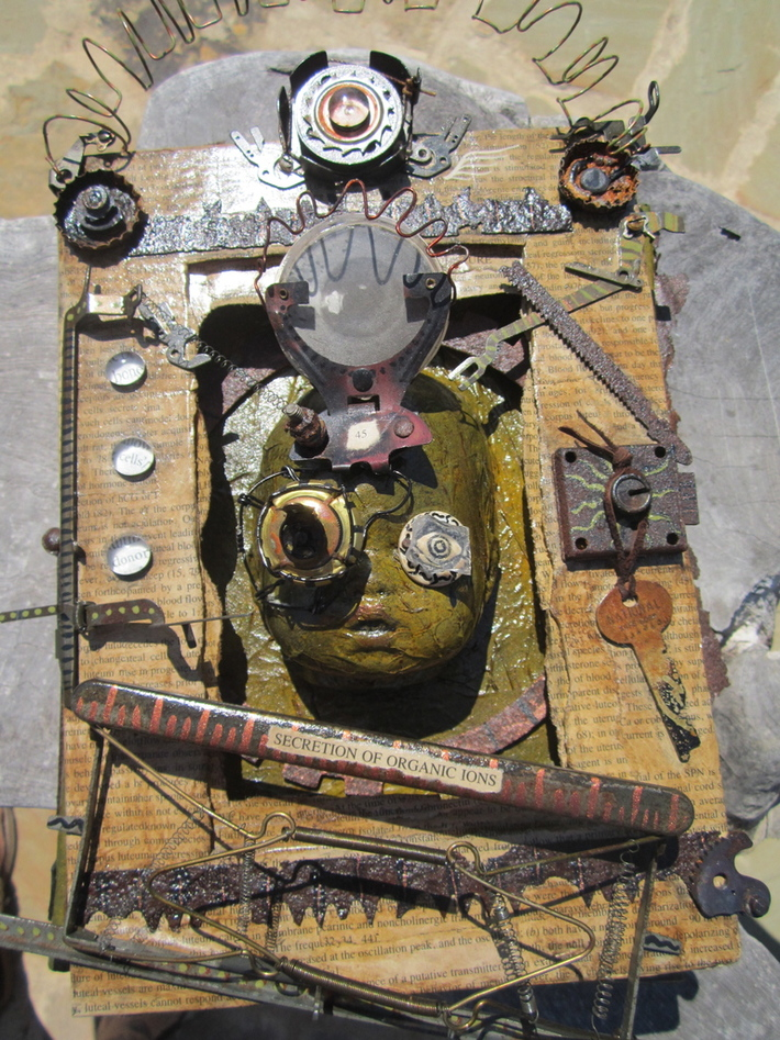 """altered book assemblage """"repair is a process"""" pages"""