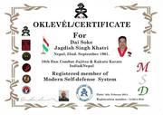 U. Modern Self Defense Certificate