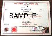 Nepal Khukuri Martial Arts Certificate
