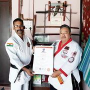 Kyoshi VRS Kumar received 7th Dan from Intl. Goju Singh Kai Karate Do Association - India