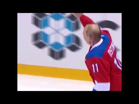 Russian President Putin slips on ice during annual hockey game