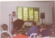 Dr. Dan speaking on prayer at a missionary retreat in the Philippines
