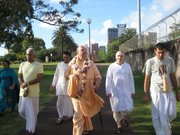 Japa Walk with gurudev.