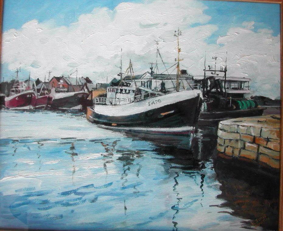 Howth Harbour Oil. Valerie Syms Martin
