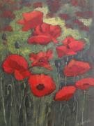Palette knife poppy painting