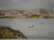view from Katt Strand.Watercolour