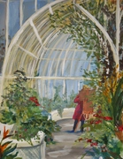 Geraldine paints in the Botanic Garden