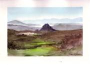 Watercolor Landscape - Acuarela Panoramica desde el Navazo