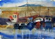 Dun Laoghaire harbour. Watercolours, 30x40, .09.15.