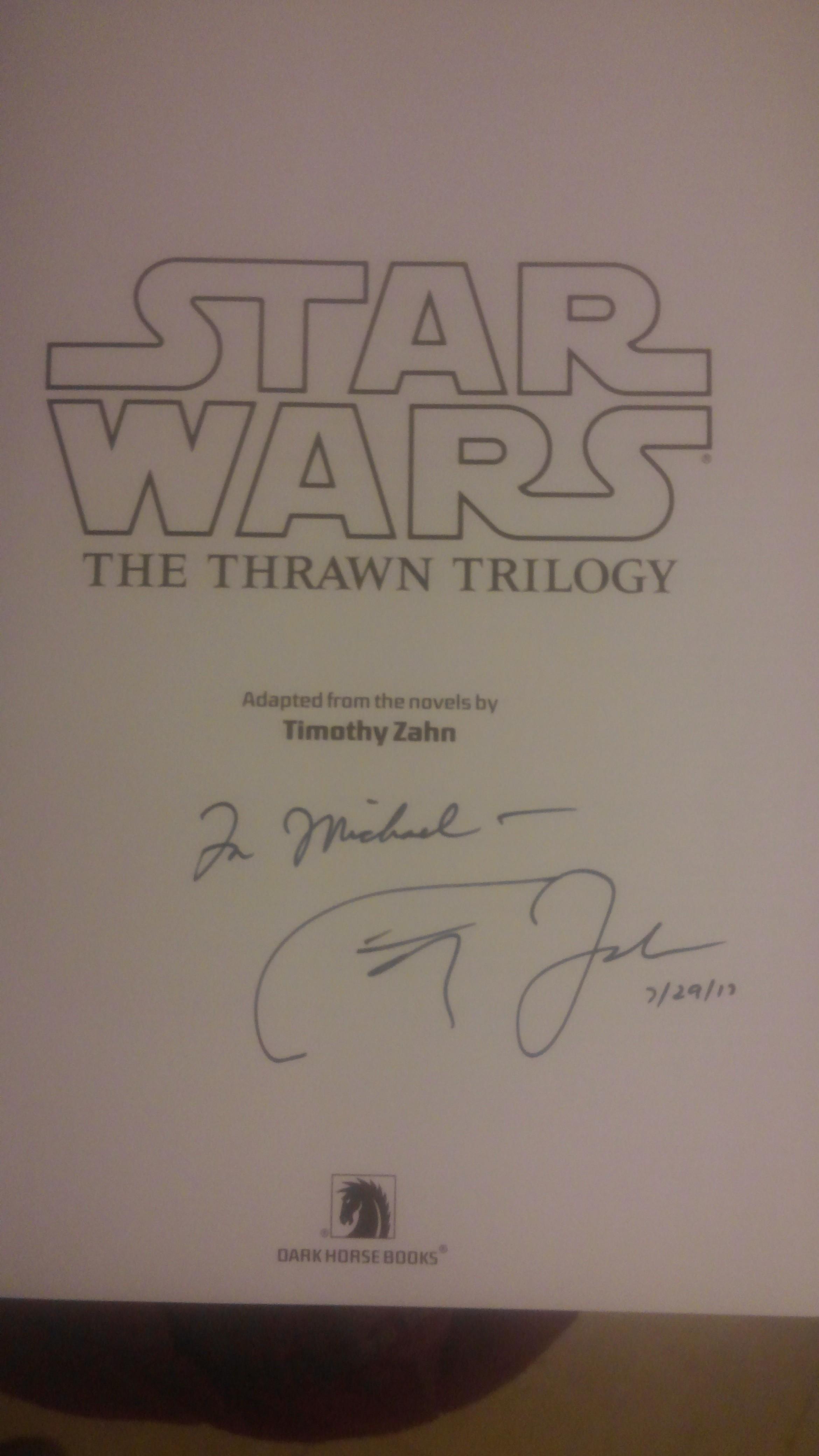 Timothy Zahn autograph