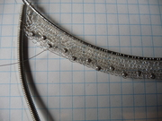 wire needle lace necklace in progress
