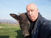 I and a small buffalo in mountains near to Sochi