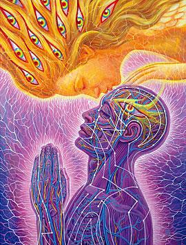 Mujer besando a hombre en la frente- Alex Grey