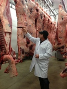 Cory Van Groningen examining the carcass