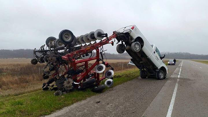 From Twitter - Rear Ended by a transport Truck.  Bumpy Ride.