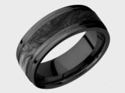 Black Zirconium With Forged Carbon Fiber Inlay Wedding Ring