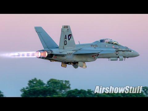 US Navy F/A-18F Super Hornet Twilight Demonstration - EAA AirVenture Oshkosh 2016