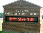 Reader board at Wyoming United Methodist near Dover, DE