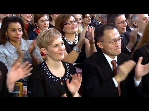 ICAN receives Nobel Peace Prize for nuclear disarmament efforts | Nobel Award ceremony 2017. Norway, Oslo. 10 December 2017.